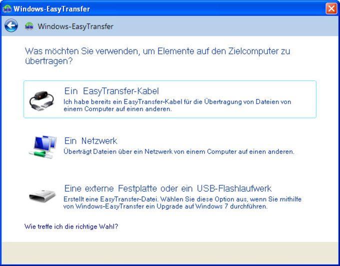 Windows-EasyTransfer für die Übertragung von Windows Vista nach Windows 7