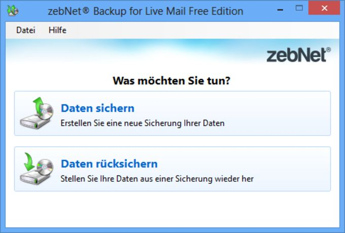 zebNet Backup for Live Mail Free Edition