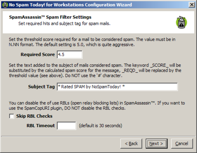 No Spam Today! for Workstations