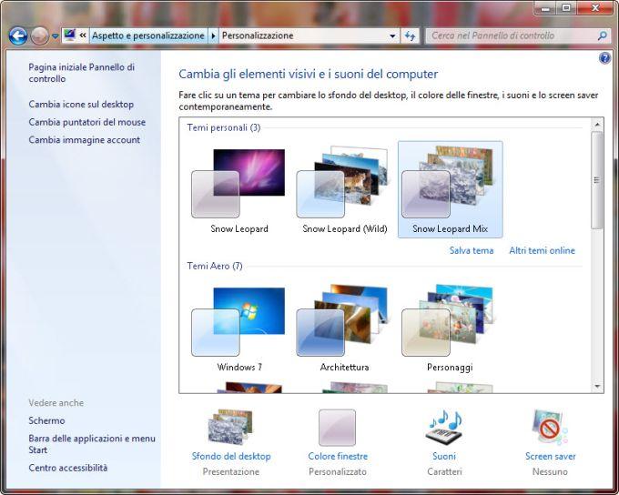 Tema Mac OS X Snow Leopard per Windows 7