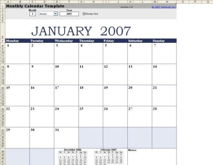 Plantilla de calendario mensual - Excel para Mac - Descargar