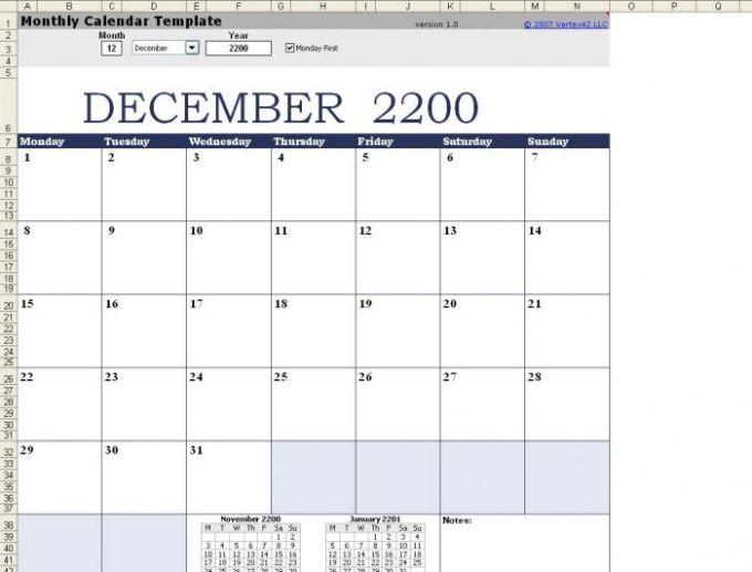Plantilla de calendario mensual - Excel