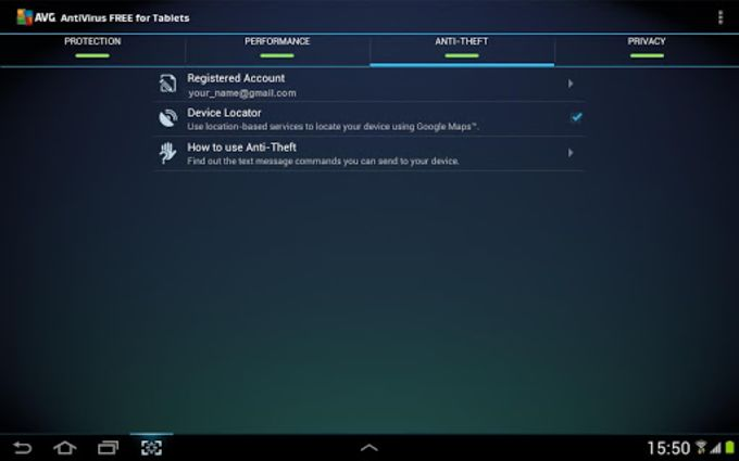 AntiVirus FREE na tablet