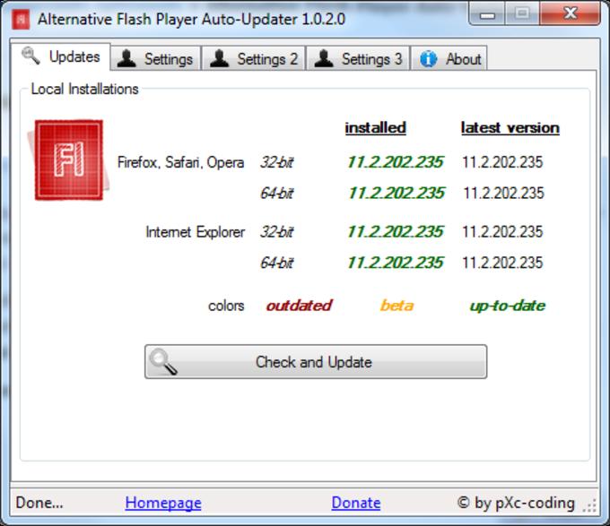 Alternative Flash Player Auto-Updater