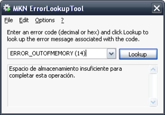 MKN ErrorLookupTool