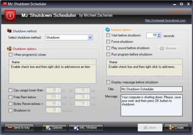 Mz Shutdown Scheduler