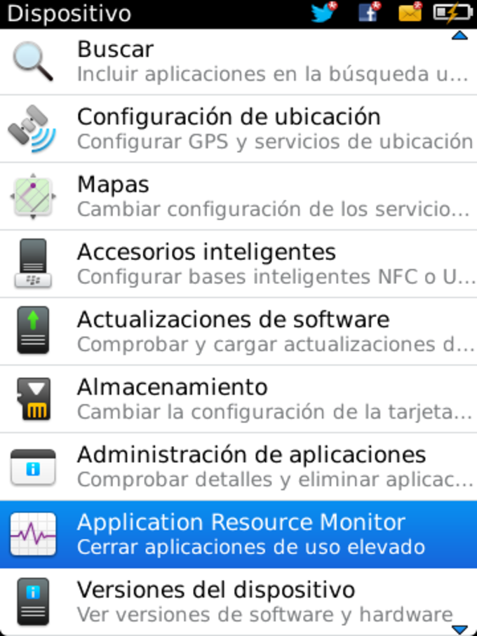 BlackBerry Applicaton Resource Monitor