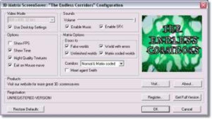 3D Matrix Screensaver: The Endless Corridors