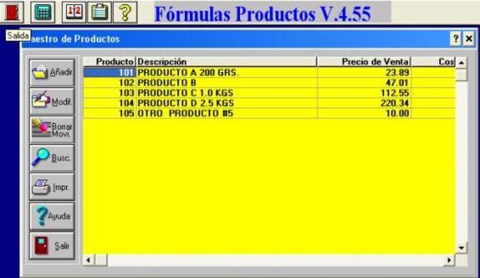 Formulas Productos