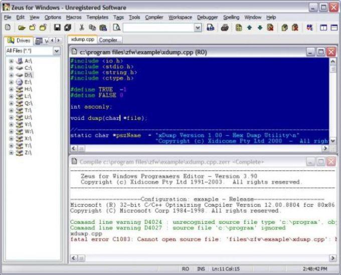 Zeus Text Editor for Windows