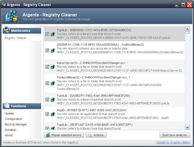 Argente Registry Cleaner