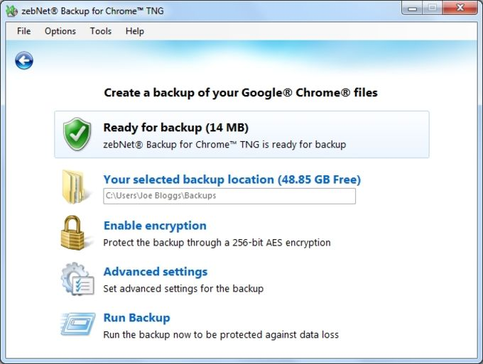 zebNet Backup for Chrome TNG