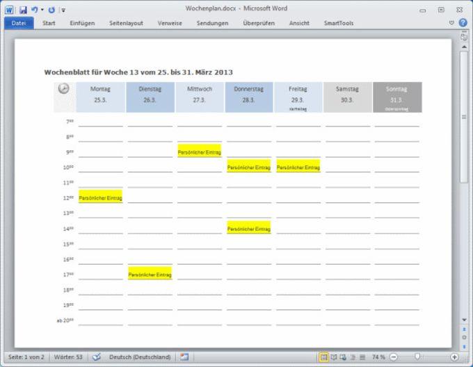 SmartTools Kalender-Assistent 2014 für Word