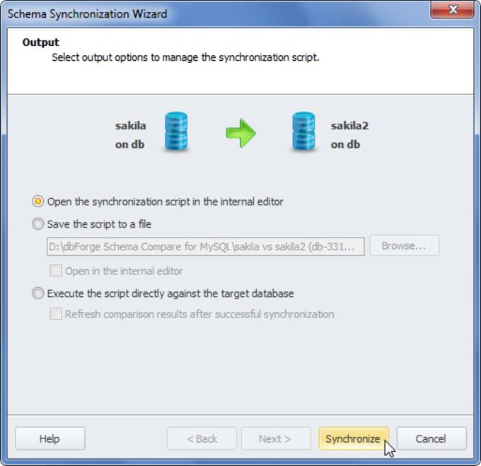 dbForge Schema Compare for MySQL
