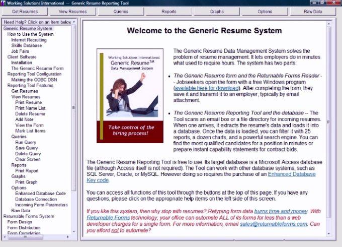Generic Resume Reporting Tool