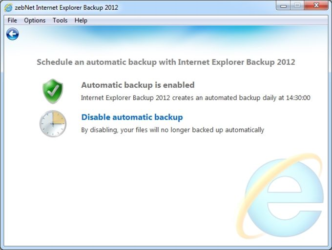 zebNet Internet Explorer Backup 2012