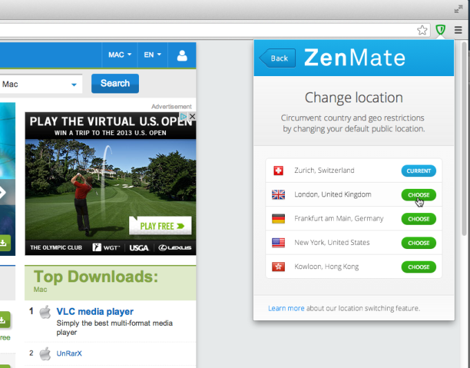 ZenMate Desktop VPN for Chrome