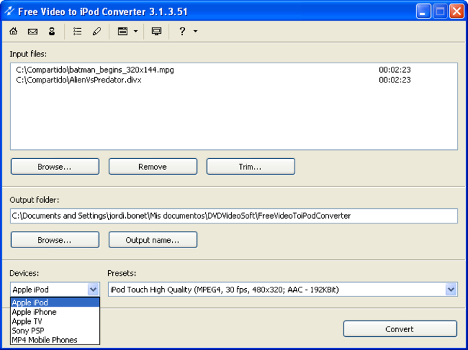 Free Video to iPod or PSP Converter