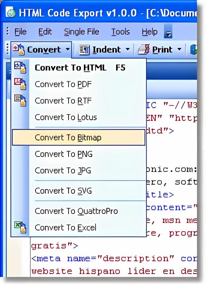HTML Code Export