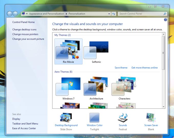 Motyw Windows 7 z filmu Rio