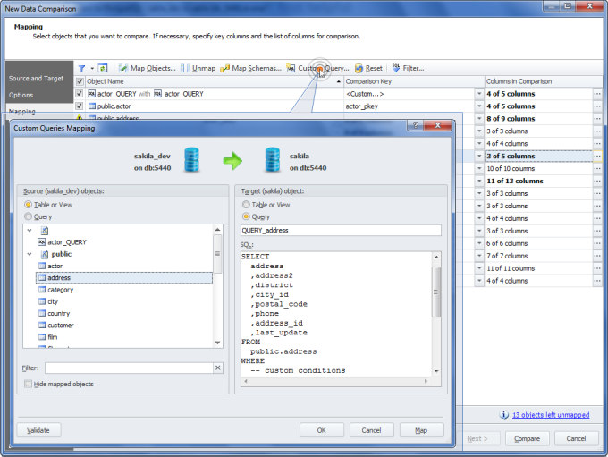 dbForge Data Compare for PostgreSQL