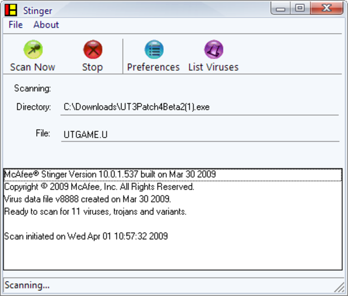McAfee W32/Conficker Stinger