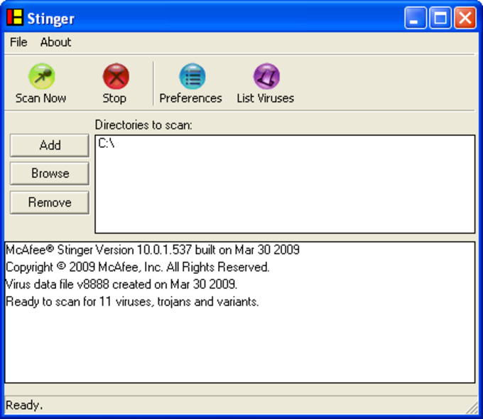 McAfee W32/Conficker Stinger