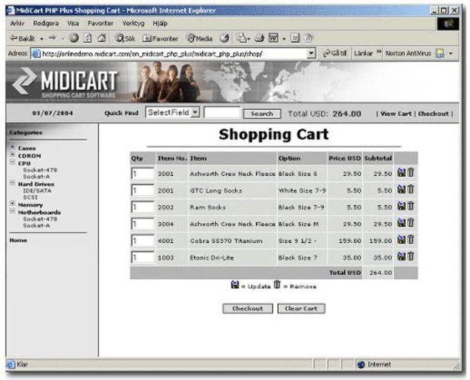 MidiCart ASP Shopping Cart