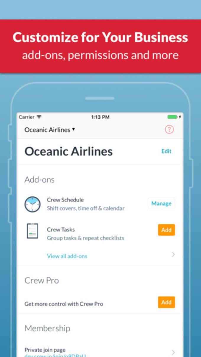Crew - Group Messaging, Shift Schedule, Tasks