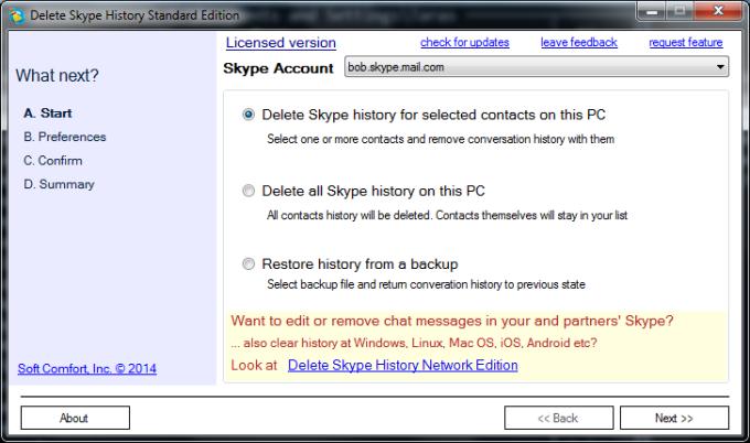Delete Skype History Standard Edition