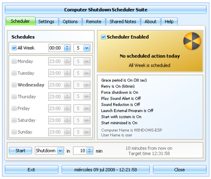 Shutdown Scheduler and Shared Notes