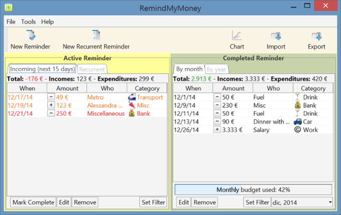 RemindMyMoney for Windows 64