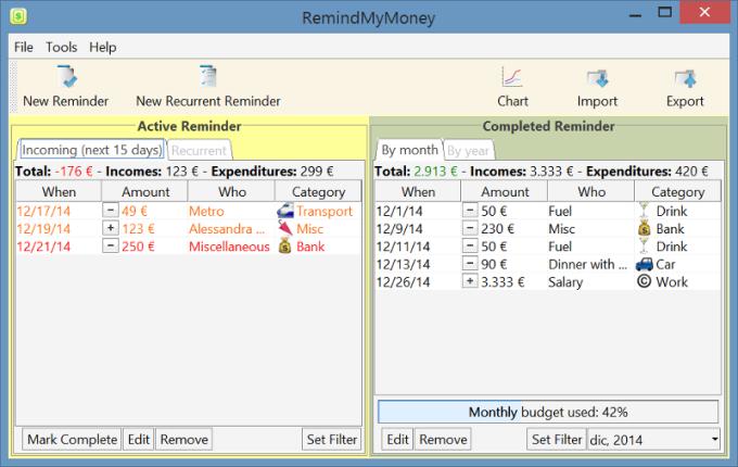 RemindMyMoney for Windows 32