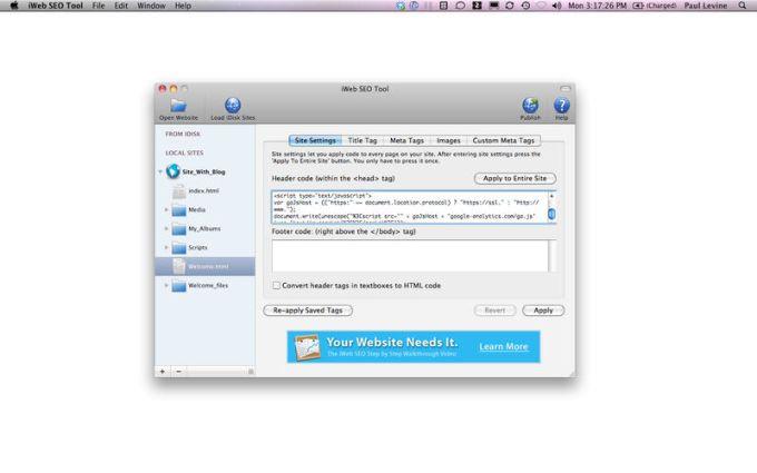 SEO Tool for iWeb