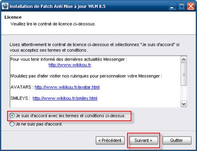 Patch anti mise à jour pour Windows Live Messenger 8.5