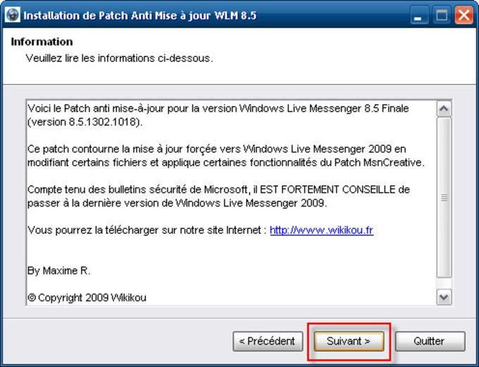 Patch anti mise à jour pour Windows Live Messenger 8.5