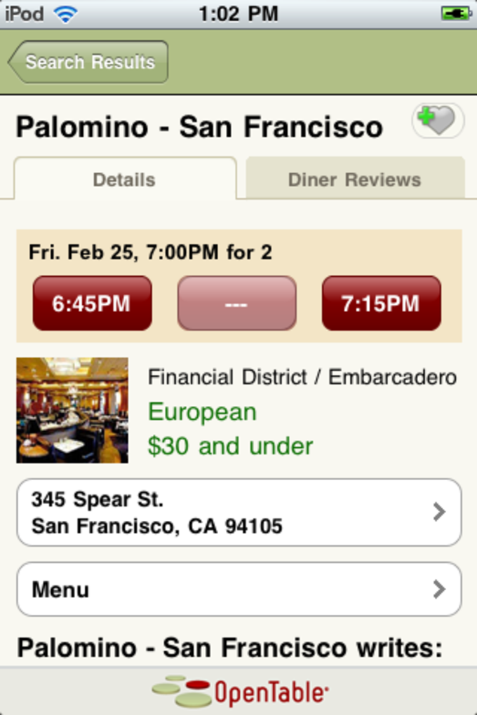 OpenTable For IPhone Download - Open table dinner