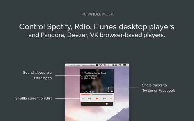 Simplify for Spotify, Rdio, iTunes, Vox music players