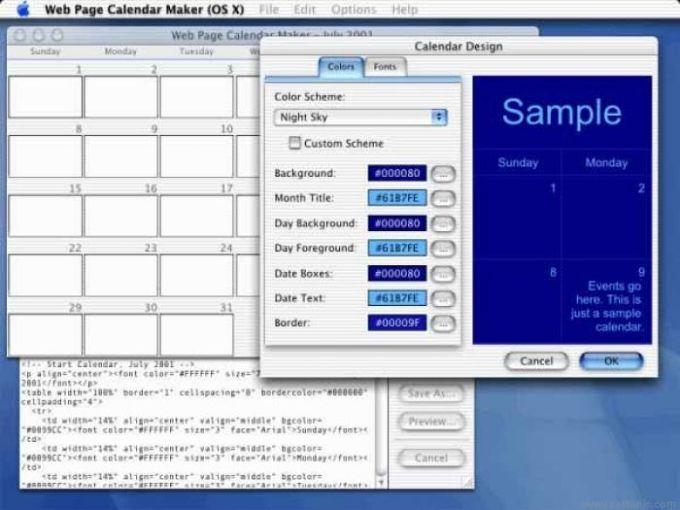 Web Page Calendar Maker