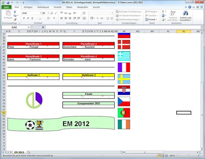 Excel-Tabelle zur Fußball EM 2012