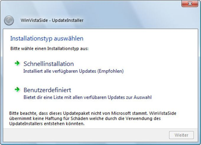 WinVistaSide UpdateInstaller für Windows 7