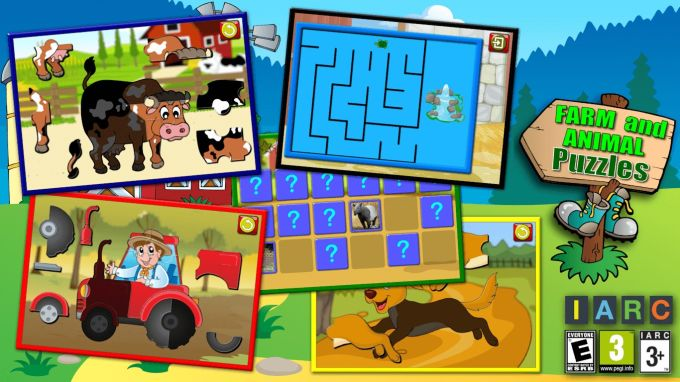 Kids Farm and Animal Jigsaw Puzzle Shapes