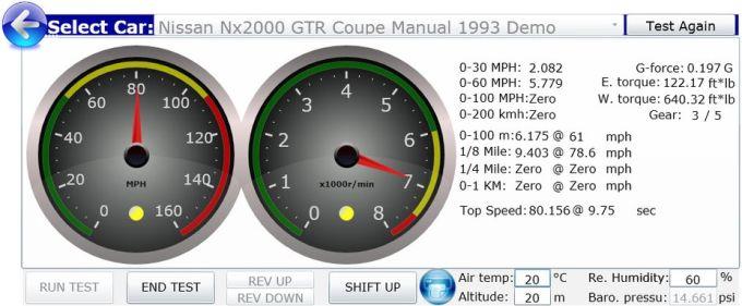 NxGTR Car Performance Simulator