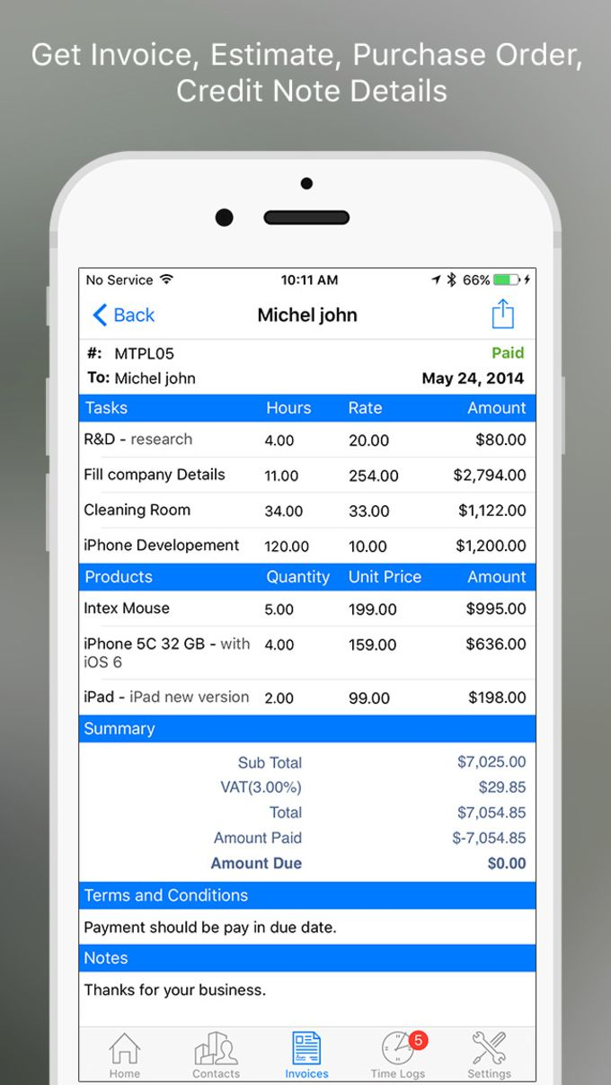 Moon Invoice Pro - Invoices, estimates, purchase orders, timesheet, credit notes, expenses