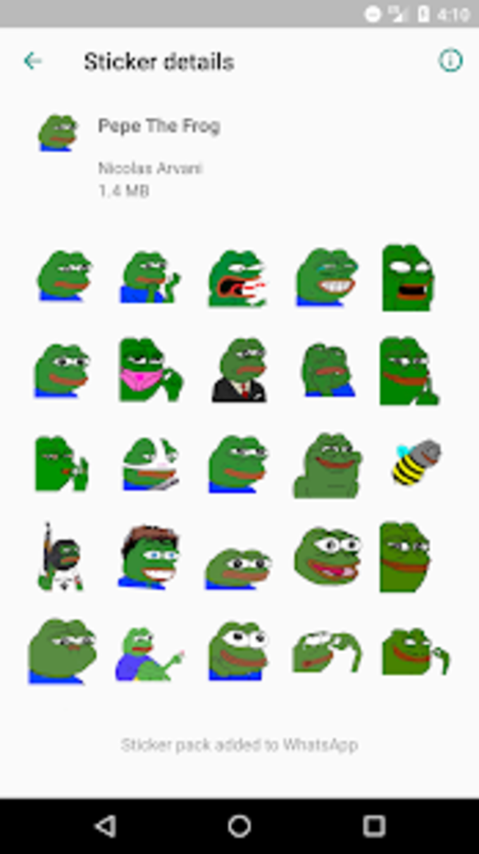 Pepe The Frog Sticker Pack for WhatsApp