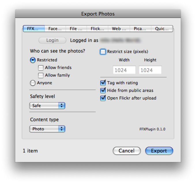 Free Flickr eXporter iPhoto Plugin
