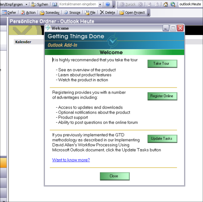 Getting Things Done Outlook Add-In