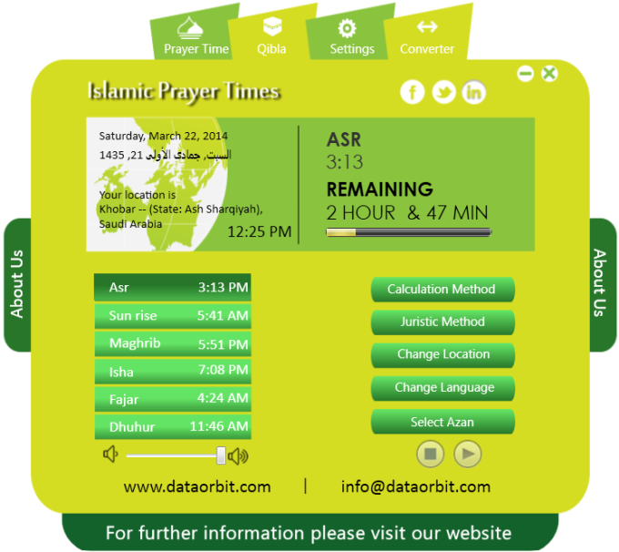 Islamic prayer time software
