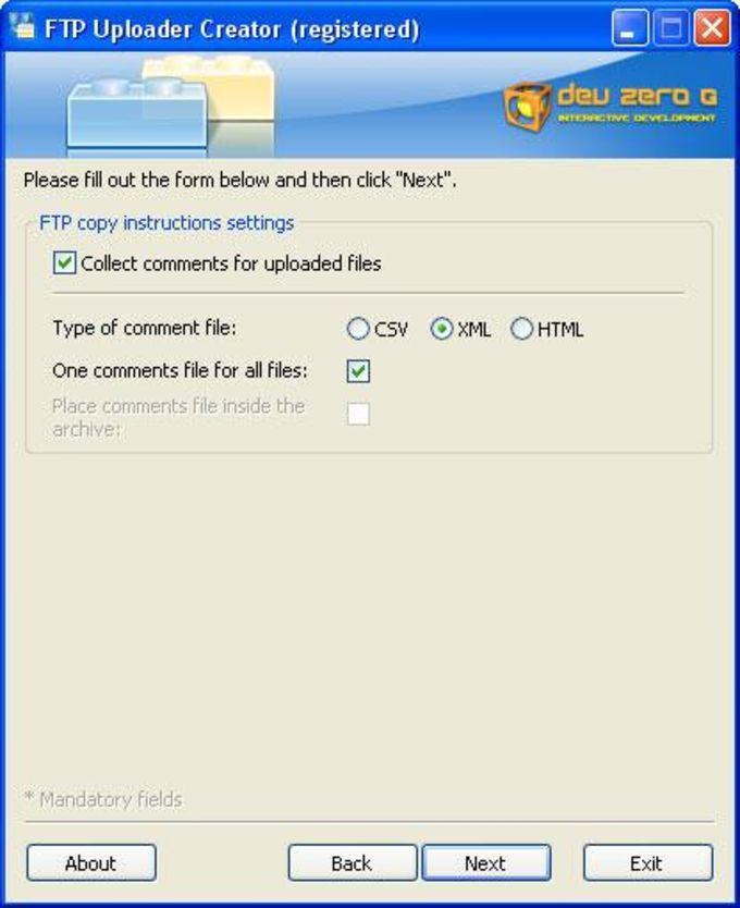 FTP Uploader Creator