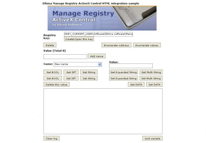 Manage Registry ActiveX Control